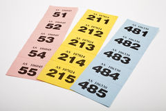 Raffle Tickets. Three strips of Raffle tickets Royalty Free Stock Images