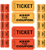 Raffle tickets. Group of sequentially numbered raffle tickets in red and yellow Royalty Free Stock Photography