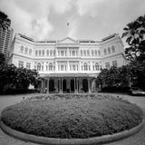 Raffles Hotel. Singapore. Photograph very grainy (not noisy) in black and white done with TX-400 Stock Image