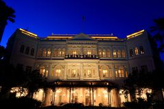 Raffles Hotel Singapore. At blue hour Stock Photography