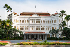 The Raffles Hotel in Singapore. SINGAPORE - JUNE 22,2016 : The Raffles Hotel on JUNE 22, 2016 in Singapore. Opened in 1899, it was named after Singapore's Royalty Free Stock Photos