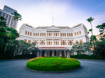 Raffles Hotel - Singapore. Raffles Hotel, Singapore - November 11, 2014: Front of the famous Raffles Hotel in Singapore City Stock Photography