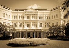 The Raffles Hotel in Singapore toned in sepia. Stock Photo