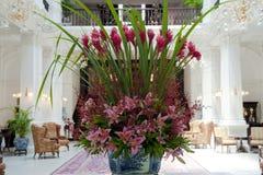 Raffles Hotelowy Singapur, Hall z kwiatu przygotowania zdjęcia royalty free