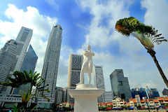 The Raffles' Landing Site. Is the location where tradition holds that Sir Stamford Raffles landed in on 29 January 1819. The site is located at Boat Quay within Royalty Free Stock Image