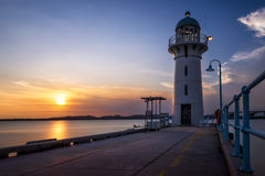 Raffles Marina Lighthouse. This lighthouse marks the western entrance to the Johor Strait, which separates Singapore from the Malaysian mainland. Located at the Stock Photo