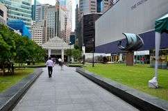 Raffles Place Central Business District CBD area and train station entrance Singapore Stock Image