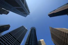 Raffles Place Towering the Blue Sky Royalty Free Stock Photos
