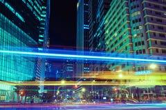 Raffles Quay Singapur giełda papierów wartościowych Uliczny budynek przy nocą zdjęcia royalty free
