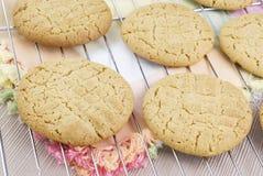 Raffreddamento casalingo dei biscotti del burro di arachide Immagini Stock
