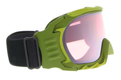 Raffreddi, adatti e gli occhiali di protezione verdi funzionali del pattino fotografia stock
