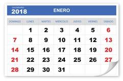 Raffreddi ed immagini lo Spagnolo del calendario 2018 illustrazione di stock