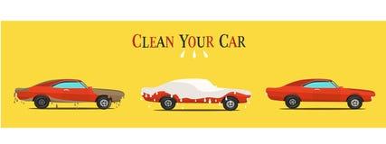 Raffreddi l'illustrazione piana sull'automobile sporca e pulita il lavaggio mette in scena il processo Fotografia Stock