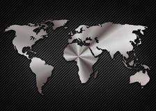 Raffreddi la mappa metallica del mondo sul carbonio Fotografie Stock