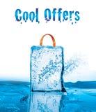 Raffreddi le offerte per la vendita di inverno con effetto ghiacciato Fotografie Stock