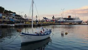 Rafina Port at Dusk, Attica, Dusk stock footage