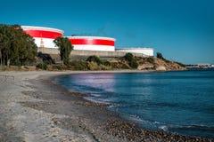 Rafineria Ropy Naftowej w Algeciras biednym mieście Zdjęcie Stock