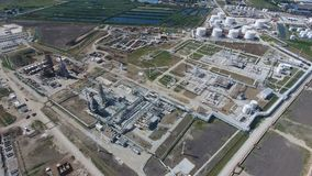 Rafinerii ropy naftowej roślina dla prasmoły i głębokiego przerobu ropy naftowej Wyposażenie i zbiorniki w rafinerii ropy naftowe Obrazy Stock