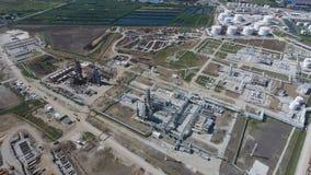 Rafinerii ropy naftowej roślina dla prasmoły i głębokiego przerobu ropy naftowej Wyposażenie i zbiorniki w rafinerii ropy naftowe Fotografia Stock