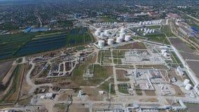 Rafinerii ropy naftowej roślina dla prasmoły i głębokiego przerobu ropy naftowej Wyposażenie i zbiorniki w rafinerii ropy naftowe Zdjęcia Stock