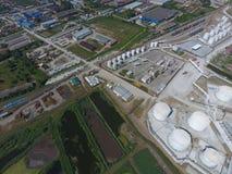 Rafinerii ropy naftowej roślina dla prasmoły i głębokiego przerobu ropy naftowej Wyposażenie i zbiorniki w rafinerii ropy naftowe Zdjęcie Stock