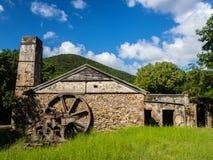 Rafowy Podpalany Cukrowy młyn, St John, U S Dziewiczych wysp park narodowy Fotografia Royalty Free