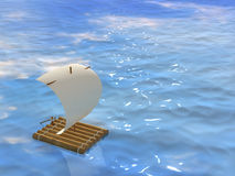 Raft. 3d self-made wooden raft with sail from a paper Stock Photo