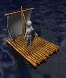 Raft. 3d render of cartoon character on raft Stock Photos
