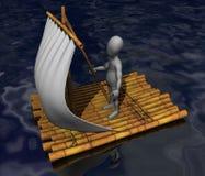 Raft. 3d render of cartoon character on raft Royalty Free Stock Photos