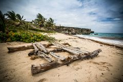 Wanna have a boat trip?. A raft abandoned on the beach in a caribbean island remember the ancient travellers who travelled the world with makeshift boats Royalty Free Stock Image