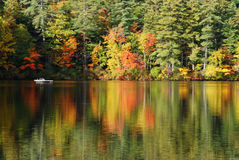 Raft in Autumn. White raft surrounded by autumn foliage in and out of the water Royalty Free Stock Images