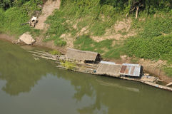 Raft Bamboo Hut River Royalty Free Stock Image