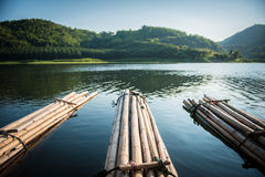 Raft. Bamboo rafting on reservoir in thailand Royalty Free Stock Photo