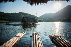 Raft. Bamboo rafting on reservoir in thailand Stock Photos