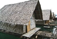 Raft bamboo river hut Stock Images