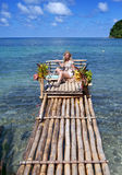 Raft on the bank of the Blue lagoon, Jamaica Stock Images