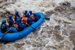 Rafters on a River stock images