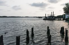 Raft house in evening at the seaside. Backgrounds royalty free stock photos