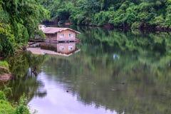 Raft house in kwai river spring seasonal at Kanchanaburi, Thailand Stock Image