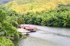 Raft house in kwai river spring seasonal at Kanchanaburi, Thailand Royalty Free Stock Image
