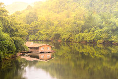 Raft house in kwai river spring seasonal at Kanchanaburi, Thailand Stock Images