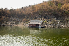 Raft-house in the lake Stock Image