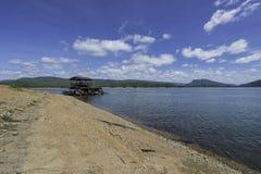 Raft house park near the mountain Royalty Free Stock Photos