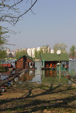 Raft house on River Sava Royalty Free Stock Photography