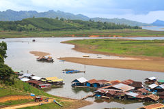 Raft house in Sangkhlaburi Royalty Free Stock Photos