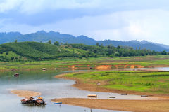 Raft house in Sangkhlaburi Stock Photos