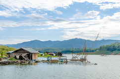 Raft house at Sirikit Dam, Thailand Stock Images