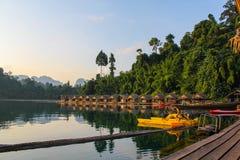 Raft houses on the Cheow Lan lake Stock Image