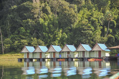 Raft houses at Khao Sok National Park, Thailand Royalty Free Stock Images