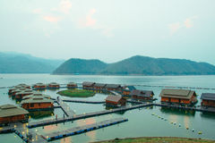 Raft houses on Lakeside in Kanchanaburi Royalty Free Stock Image